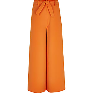 Pantalon large orange noué à la taille pour fille