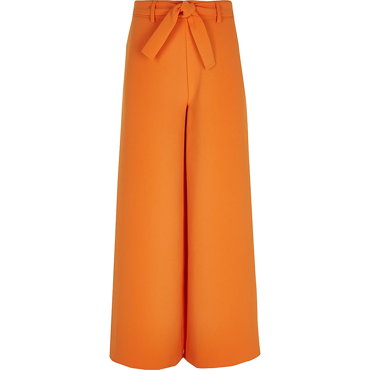 Girls orange tie waist wide leg trousers