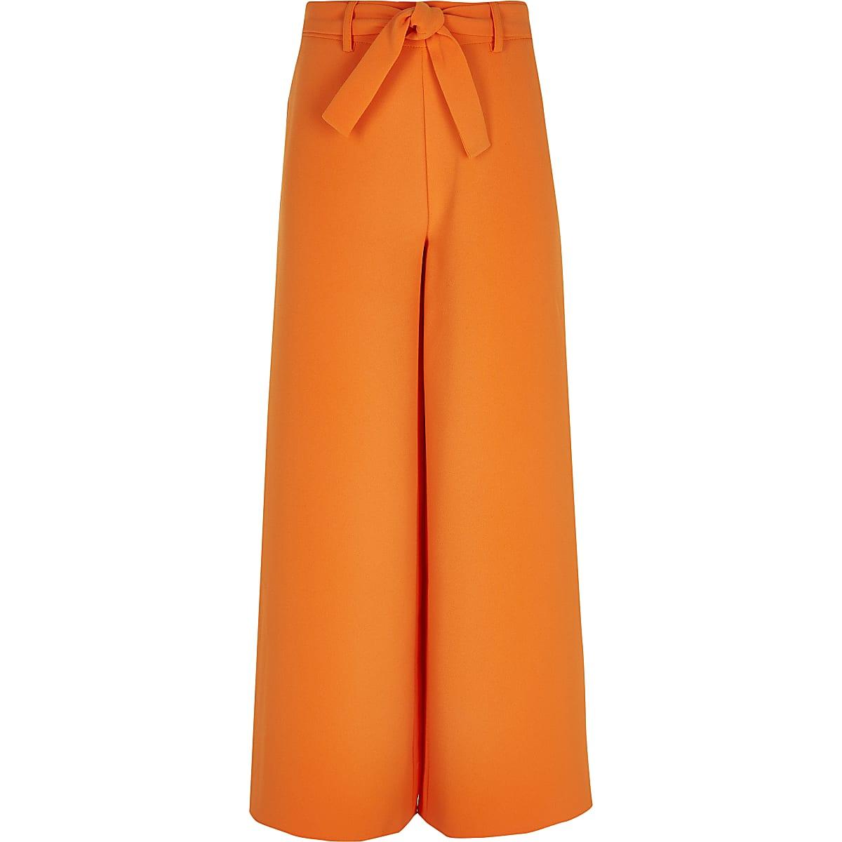 Girls orange tie waist wide leg pants