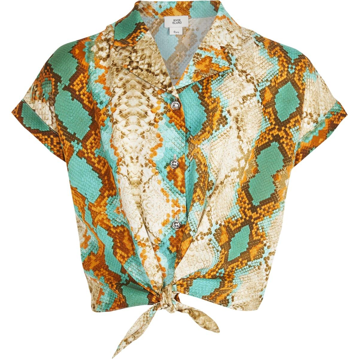 Girls green snake print tie front shirt