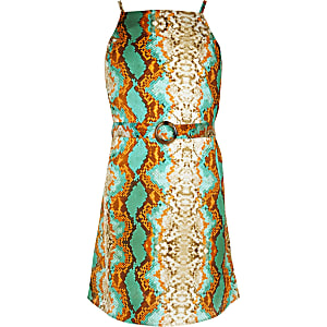 Girls turquoise snake print slip dress