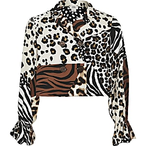 8683362111c790 Girls brown splice animal print blouse