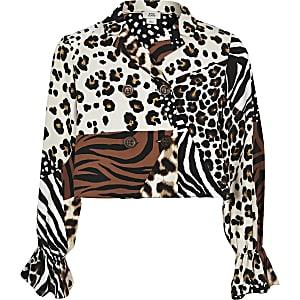 Bruine blouse met gespleten dierenprint voor meisjes