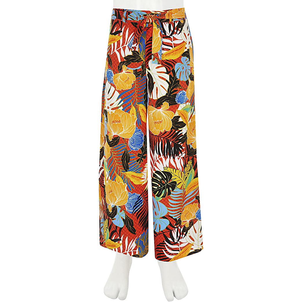 Girls orange tropical wide leg trousers