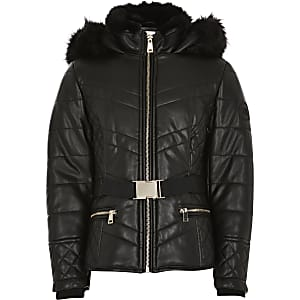 Girls black faux fur hood belted padded coat
