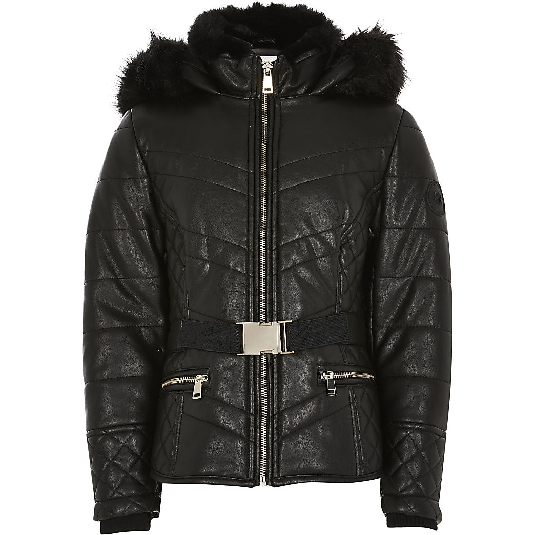 Girls black faux fur hood belted padded coat