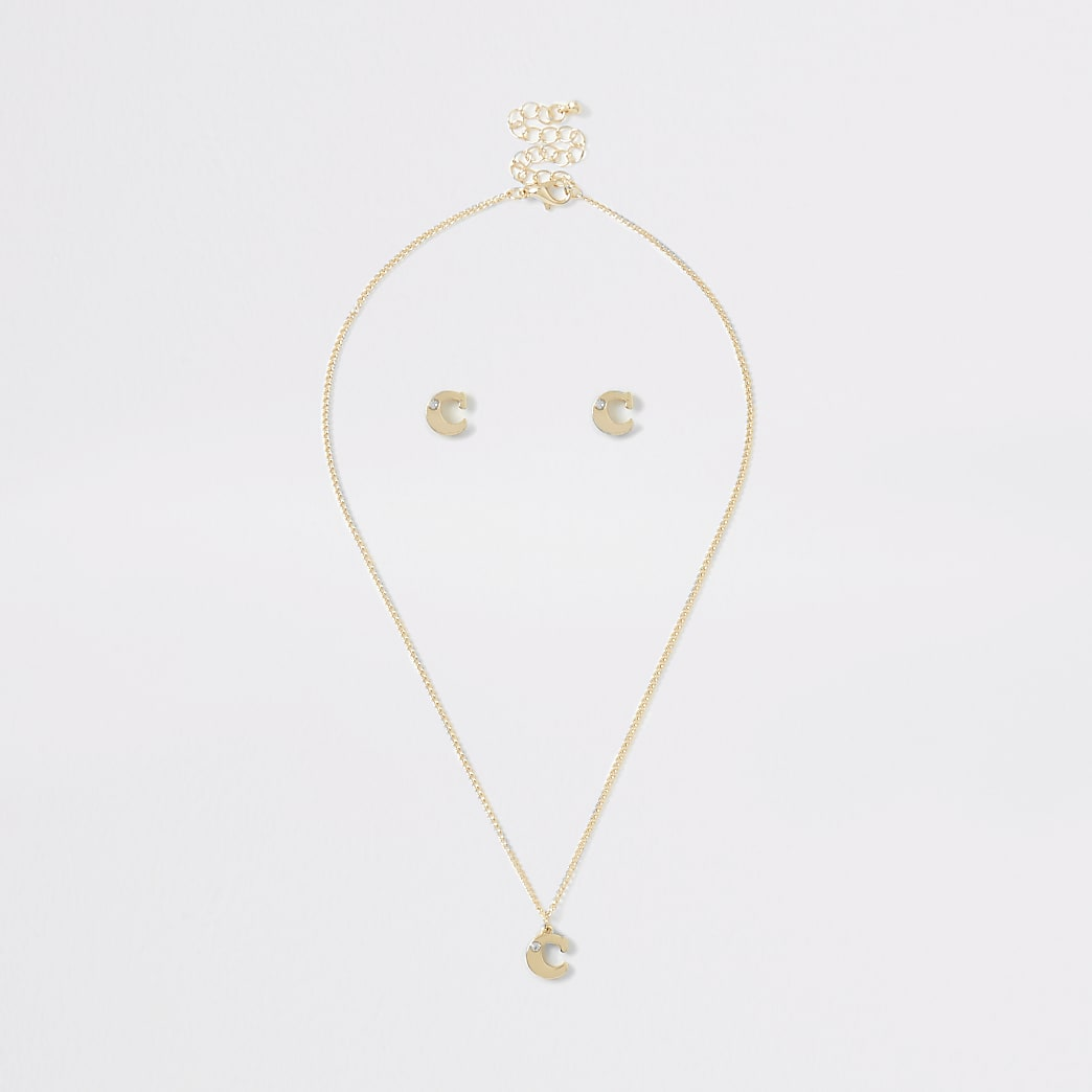 Girls gold colour 'C' initial necklace set