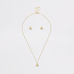 Girls gold colour 'A' initial necklace set