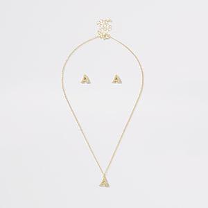 Parure avec collier doré à initiale A pour fille
