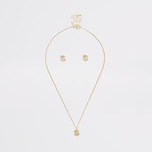 Parure avec collier doré à initiale S pour fille