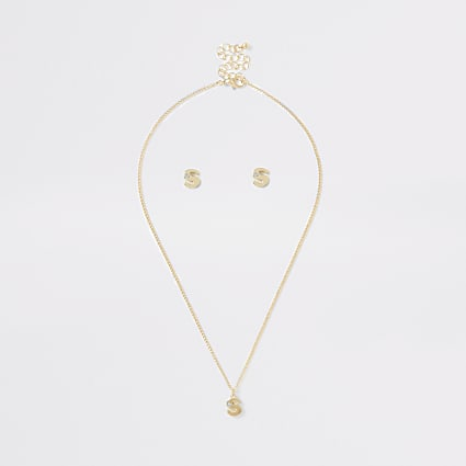 Girls gold colour 'S' initial necklace set