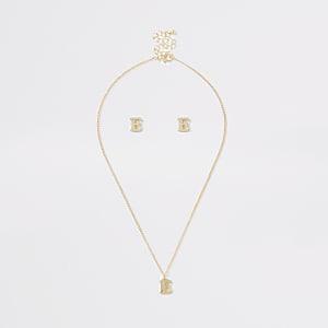 Parure avec collier doré à initiale E pour fille