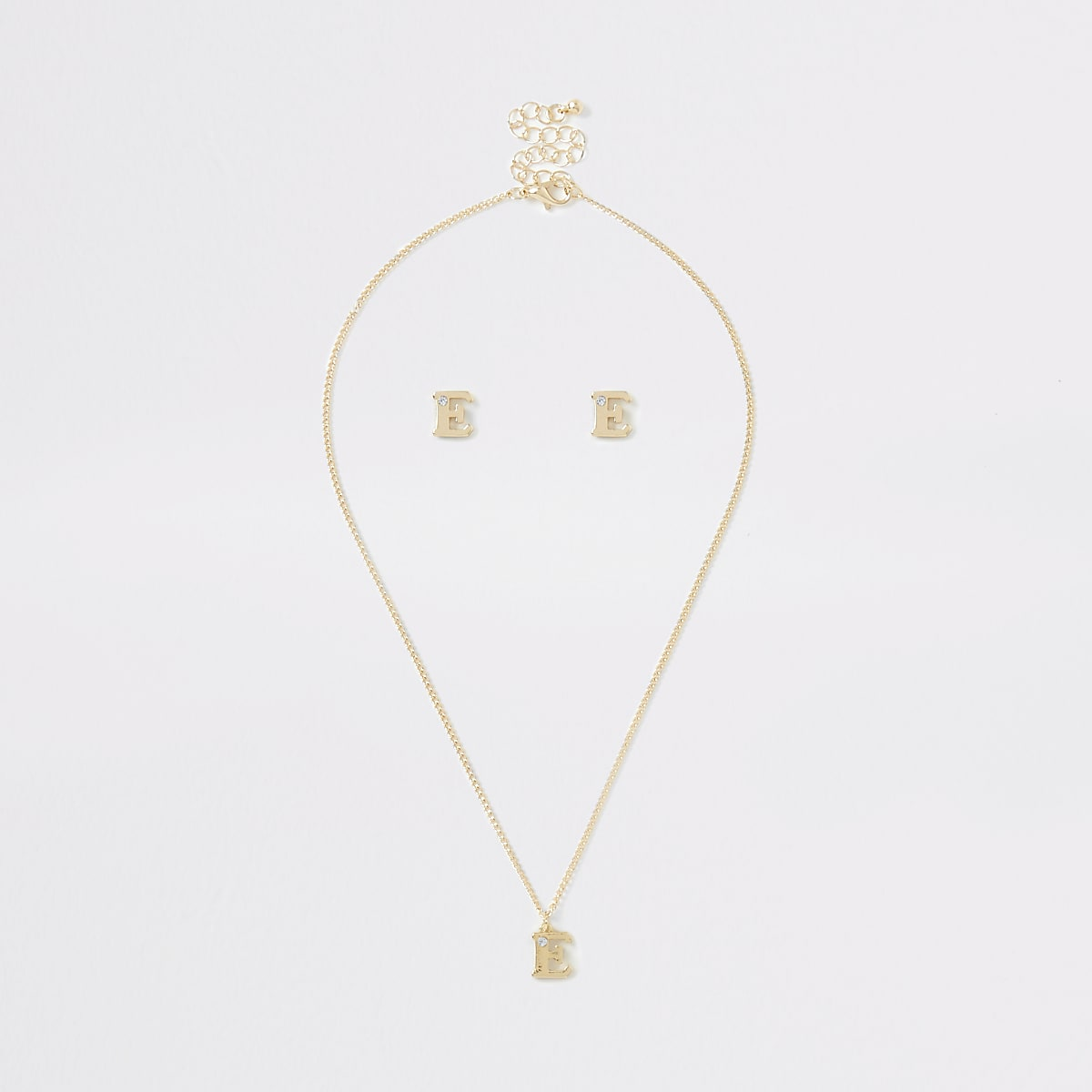 Girls gold colour 'E' initial necklace set