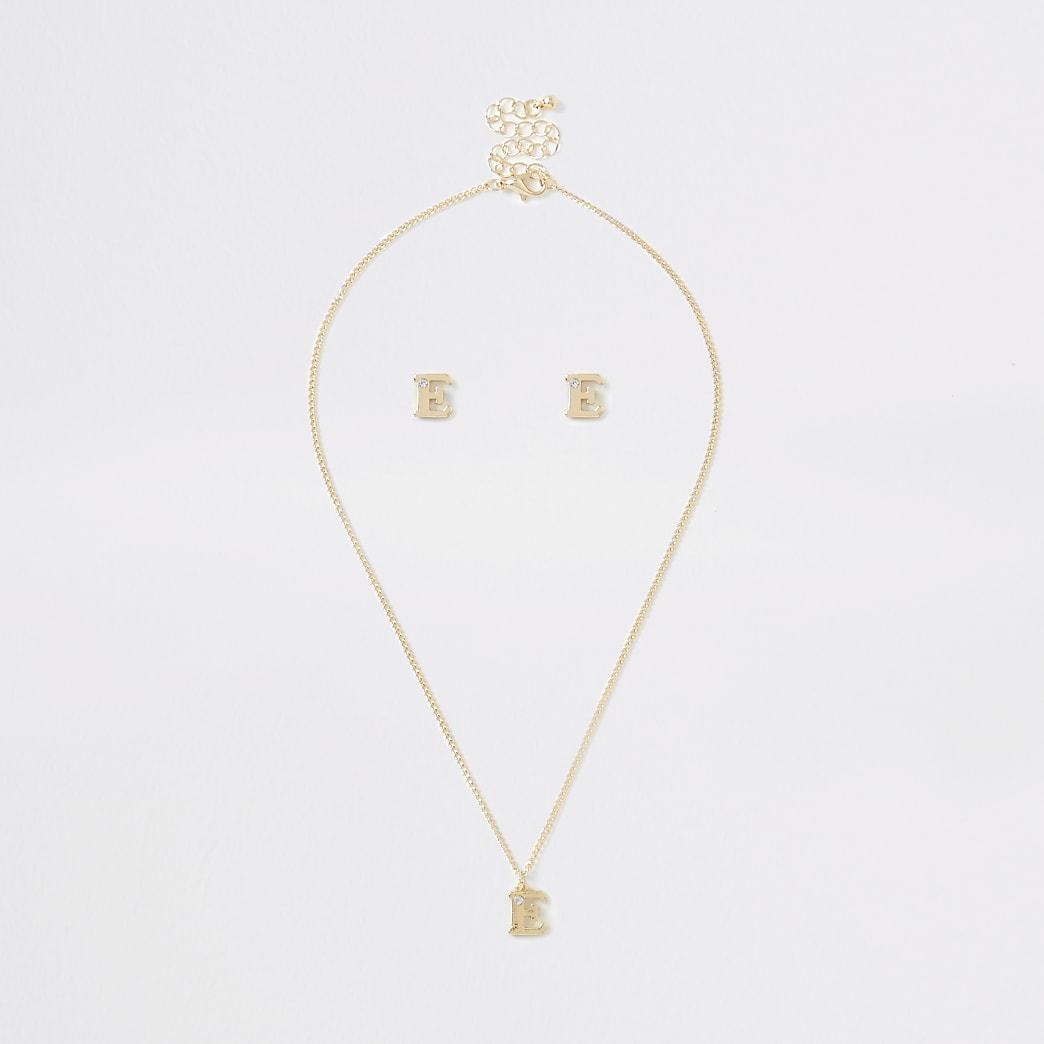 Girls gold colour 'E' initial necklace set