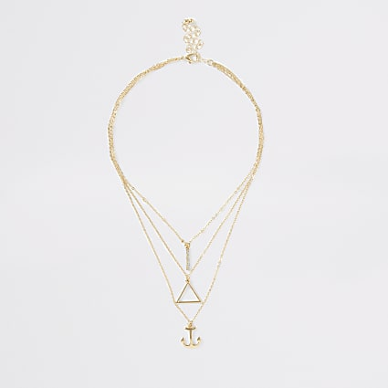 Girls cold colour anchor layered necklace