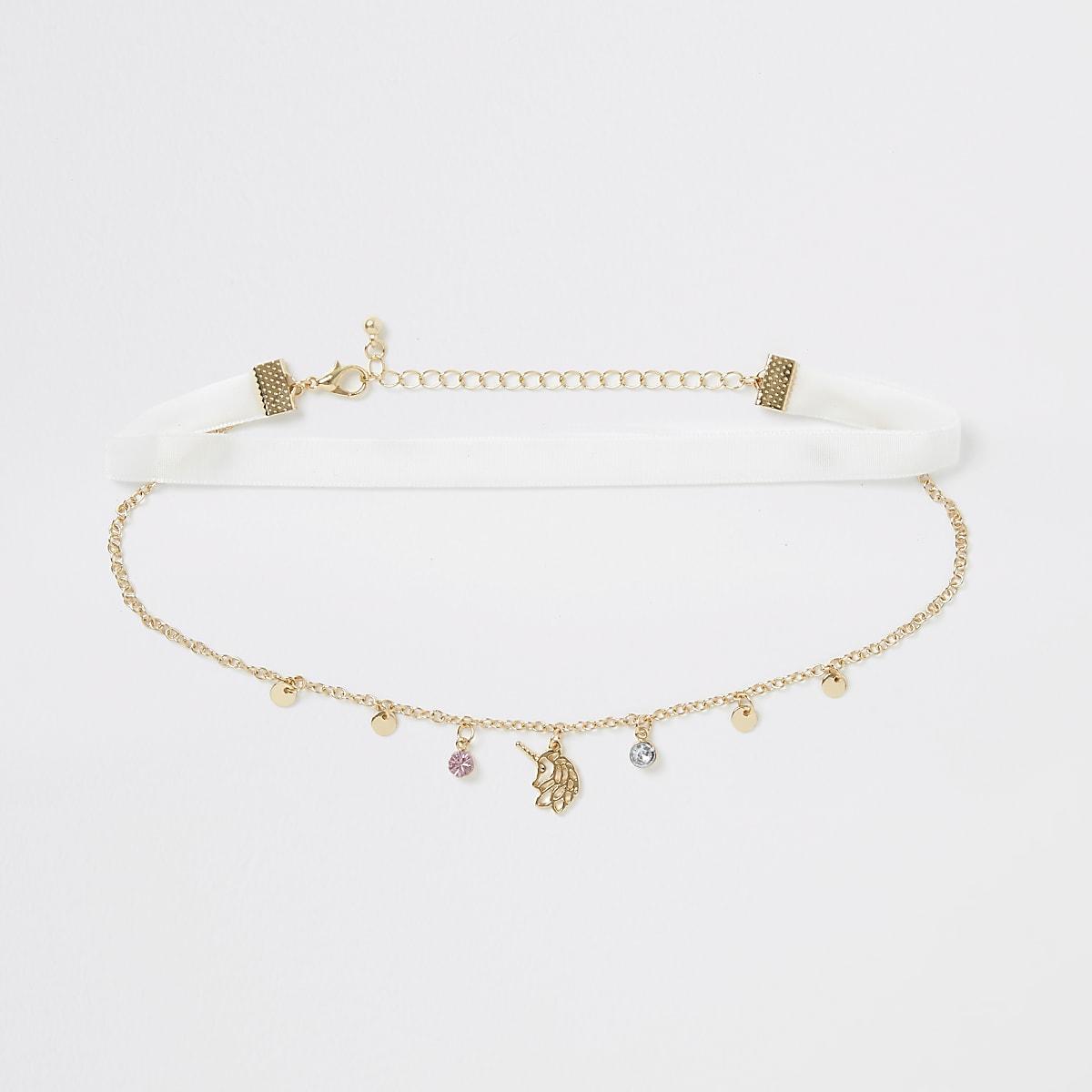 Collier ras-de-cou doré motif licorne pour fille