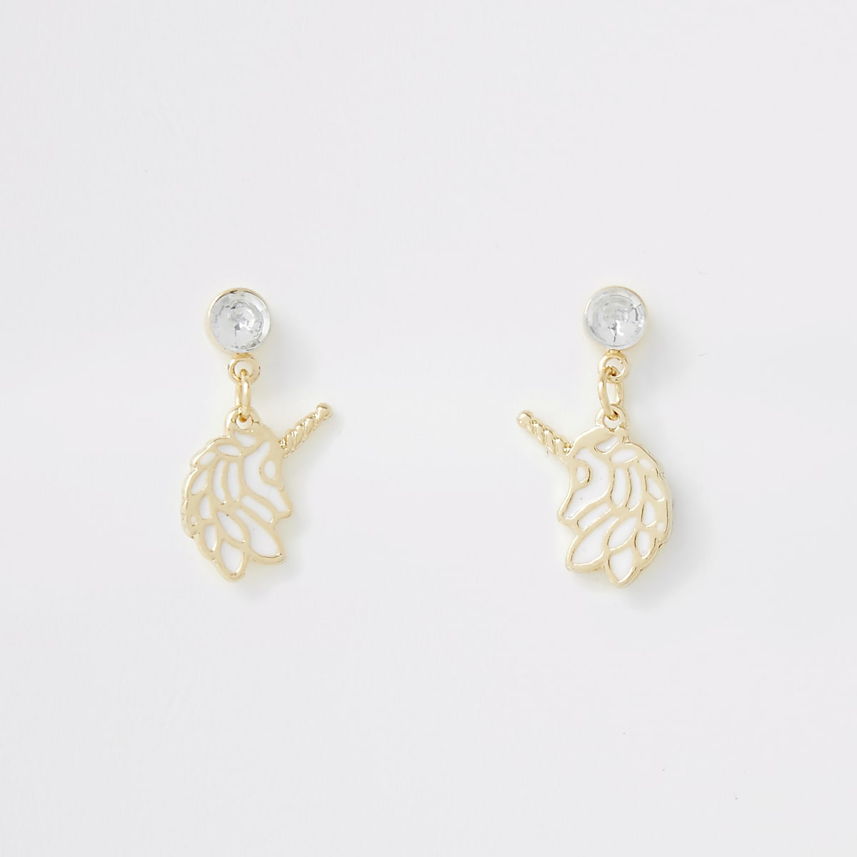 Girls white unicorn earrings