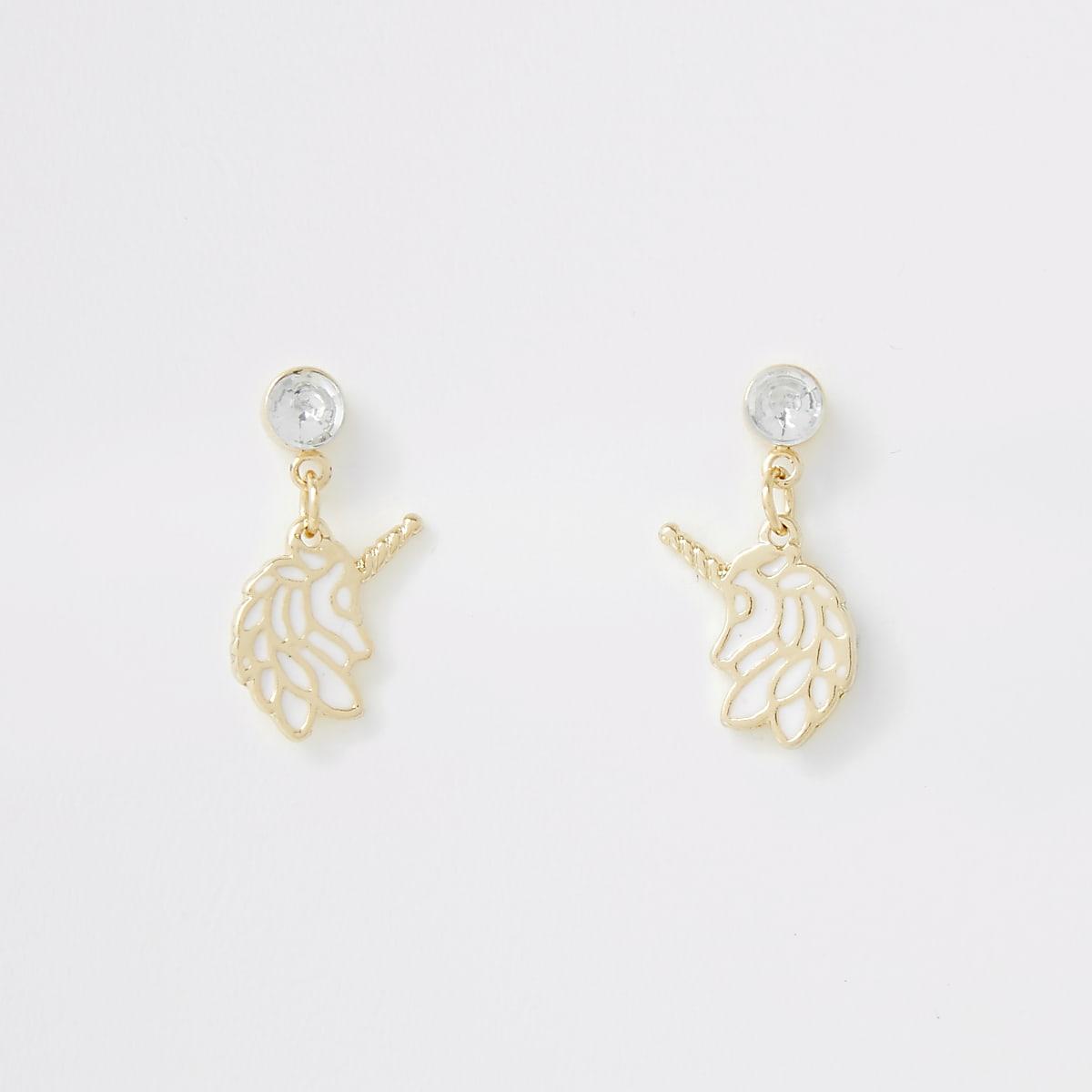 Girls white unicorn earrings