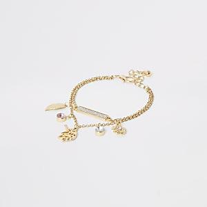 Goudkleurige armband met eenhoornbedel voor meisjes