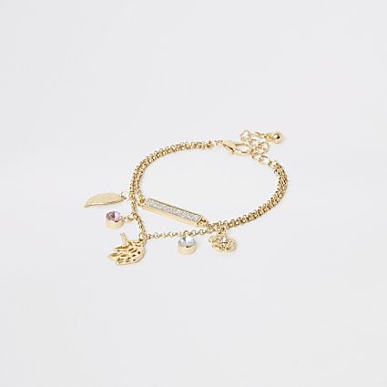 Girls gold colour unicorn charm bracelet