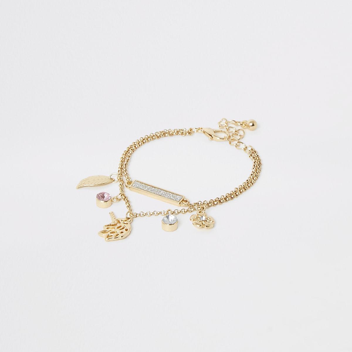 Girls gold color unicorn charm bracelet