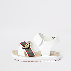 Mini girls white bee embroidered sandals