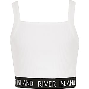 Girls white ribbed crop top