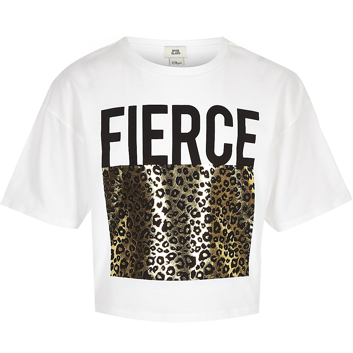 Girls white leopard foil print T-shirt
