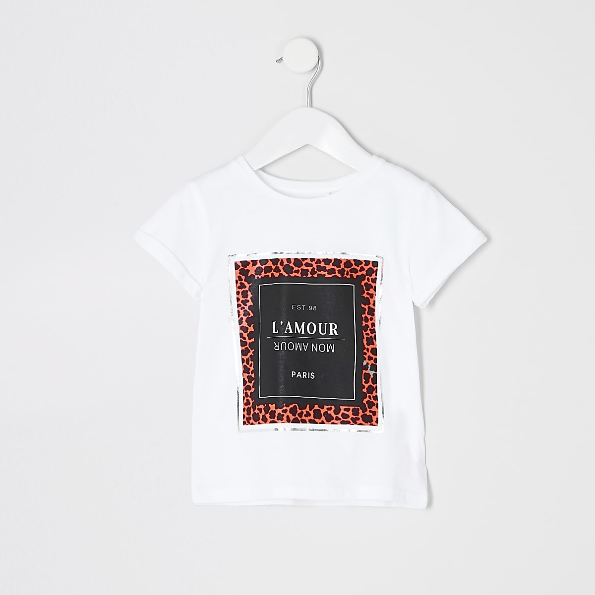 Mini girls white neon animal print T-shirt