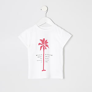 Mini - Wit T-shirt met palmboom-neonprint voor meisjes