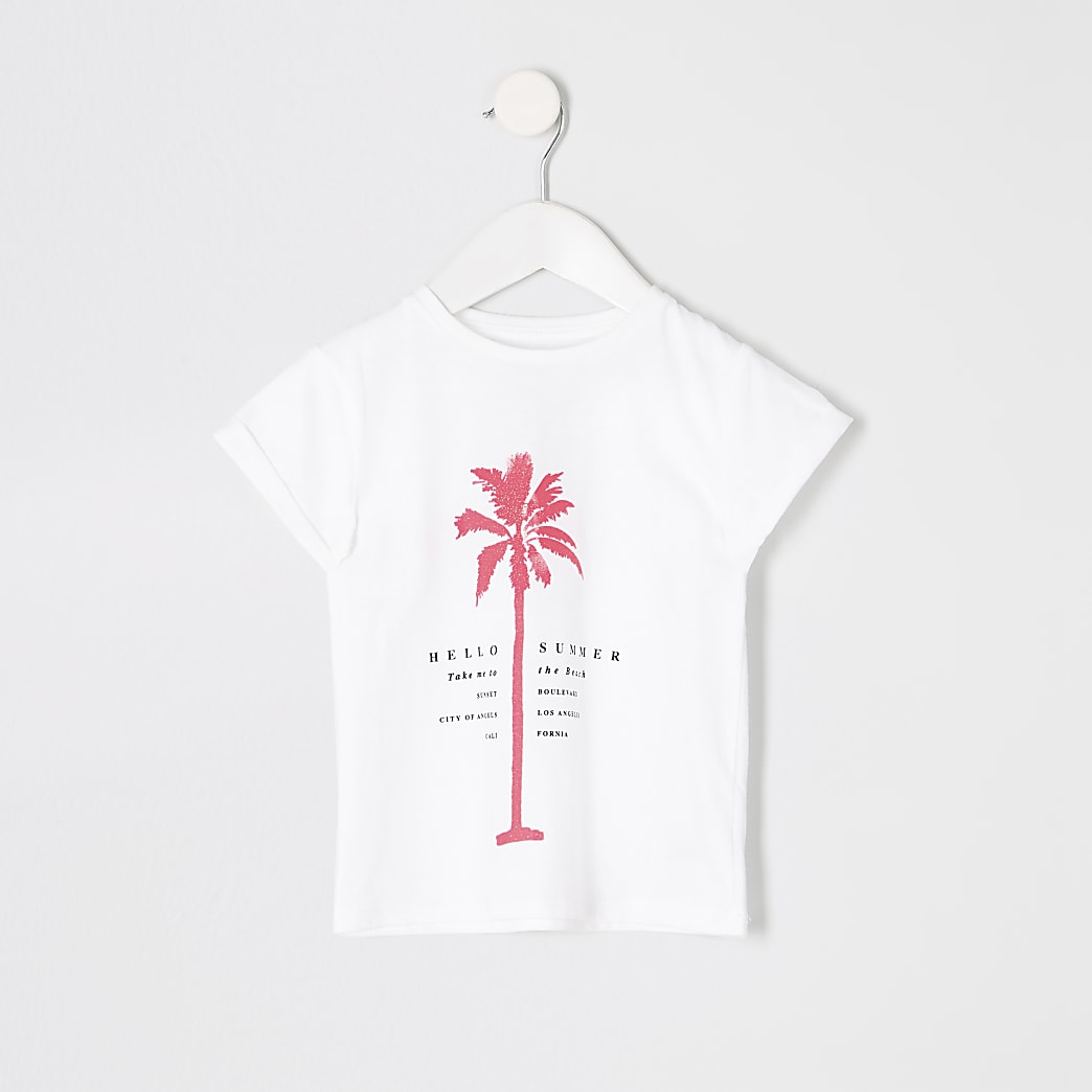 Mini girls white palm neon print T-shirt