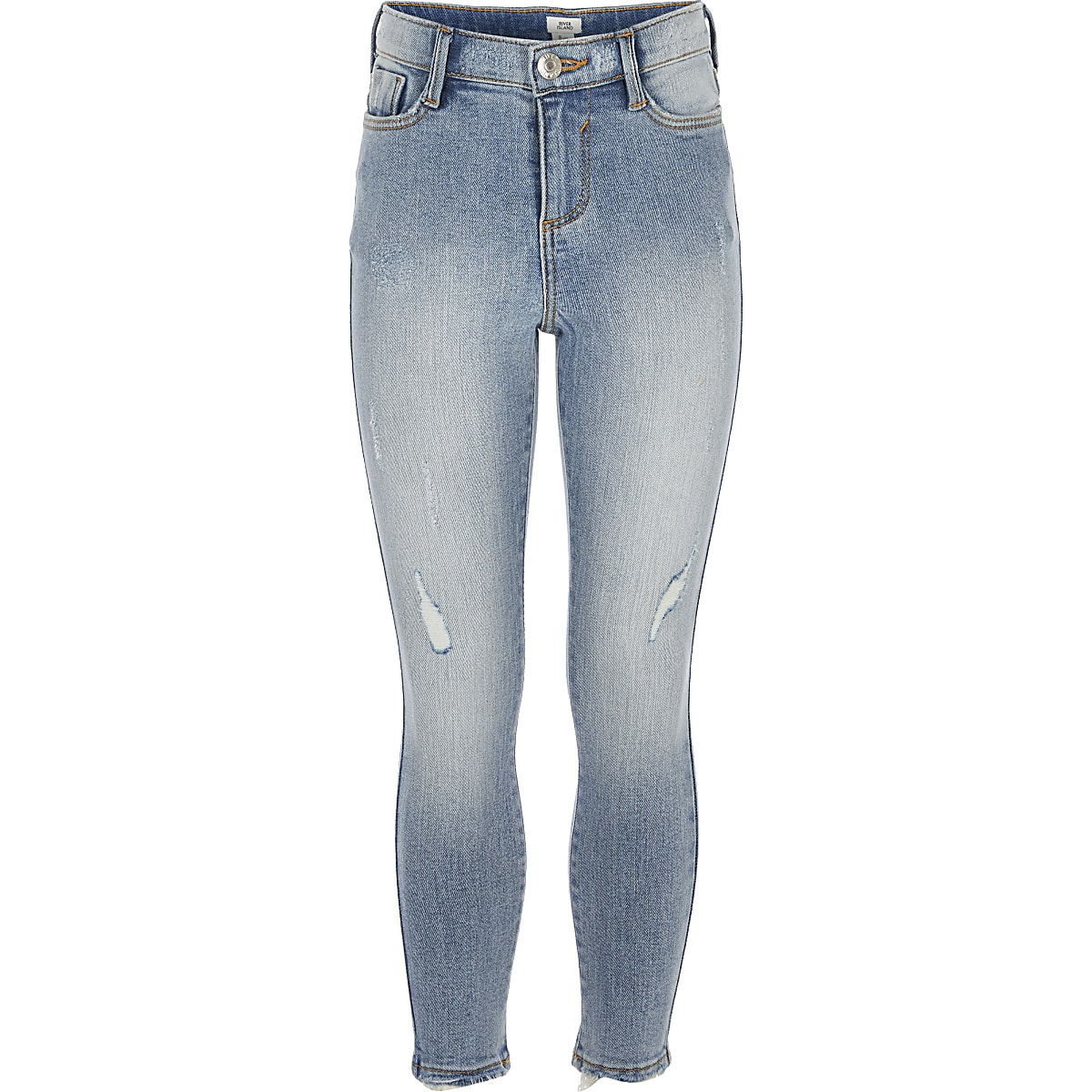 Girls light blue Amelie skinny wash jeans