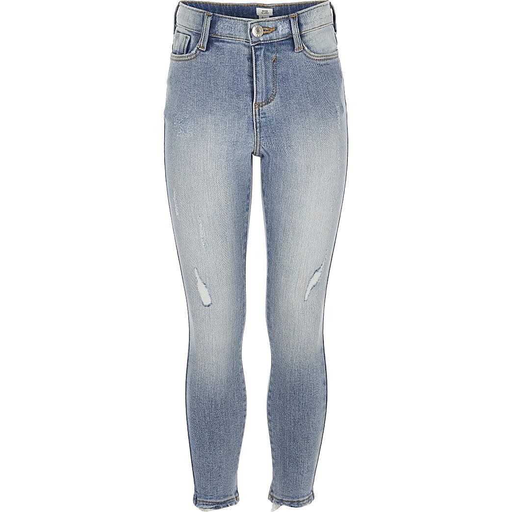 Girls light blue Amelie skinny wash jeans