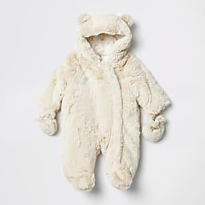 Combinaison de ski crème avec capuche en fausse fourrure pour bébé