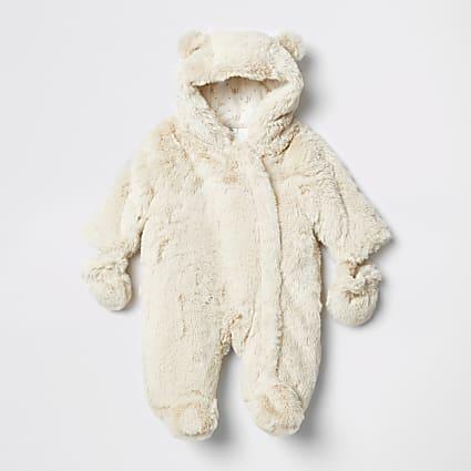 Baby cream faux fur hooded snowsuit