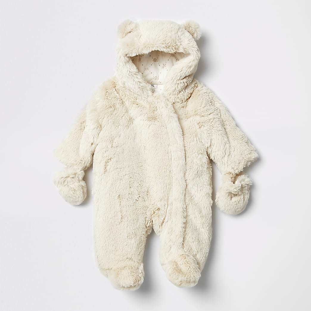 Baby cream faux fur hooded snowsuit