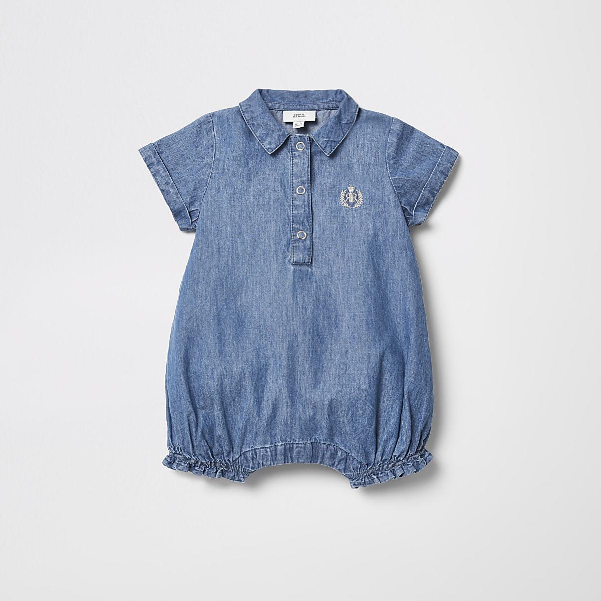 Baby blue denim romper