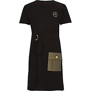 Schwarzes Utility Kleid mit Gürtel