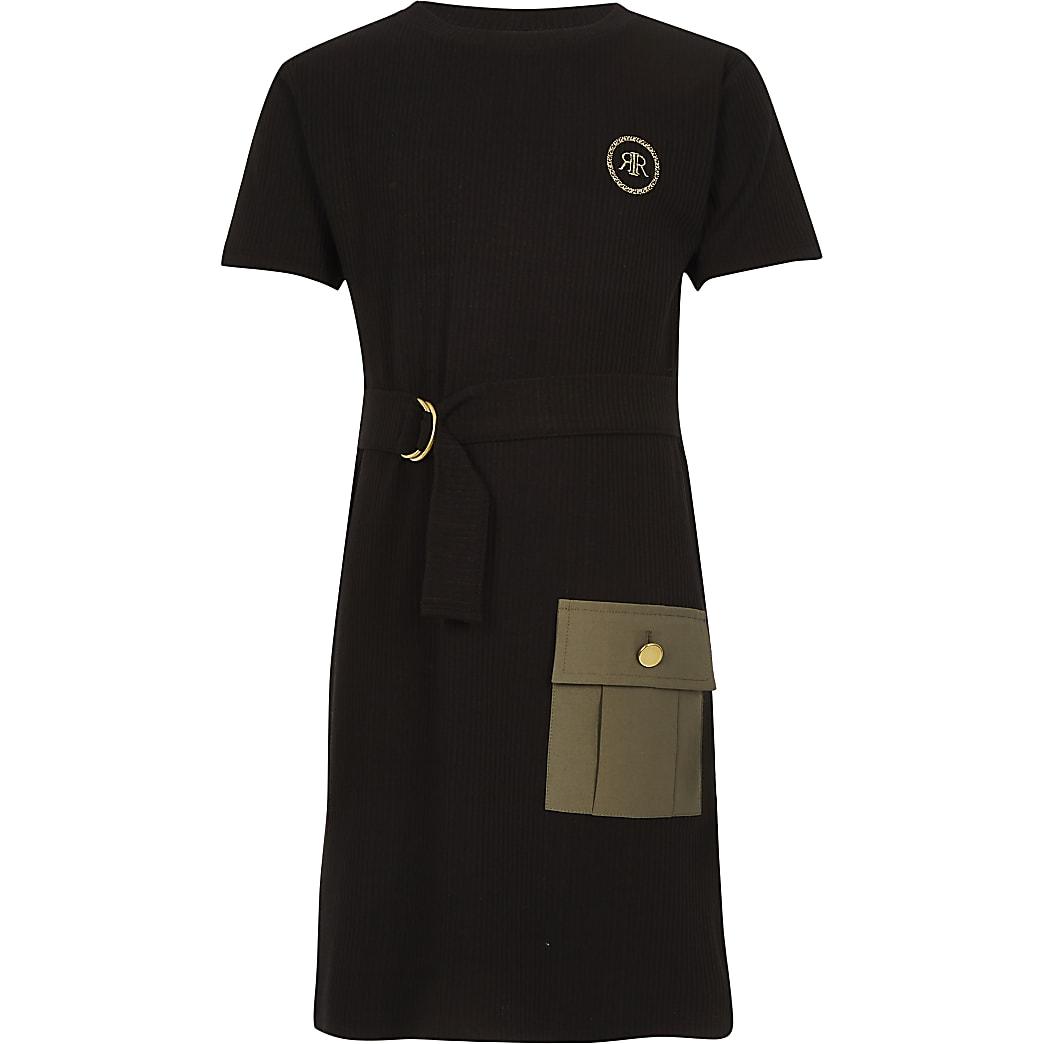 Girls black belted utility dress