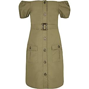 Utility Bardot-Kleid in Khaki