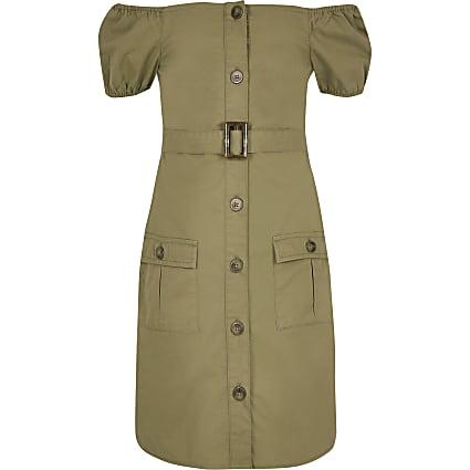 Girls khaki utility bardot dress