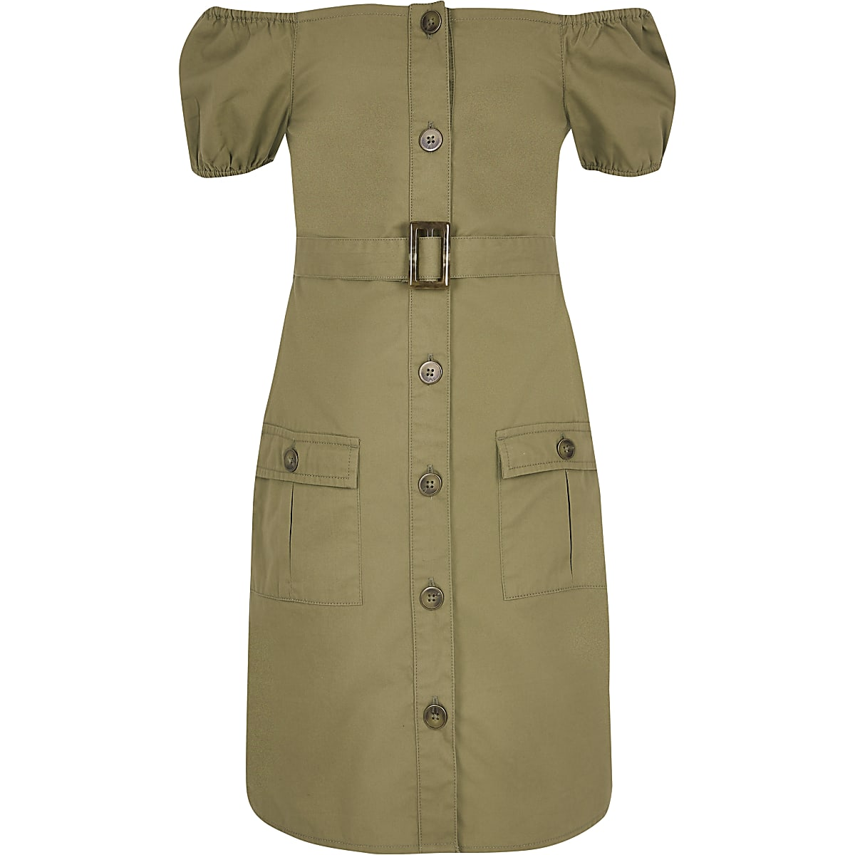 Girls khaki utility bardot dress