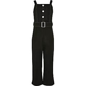 Girls black belted jumpsuit
