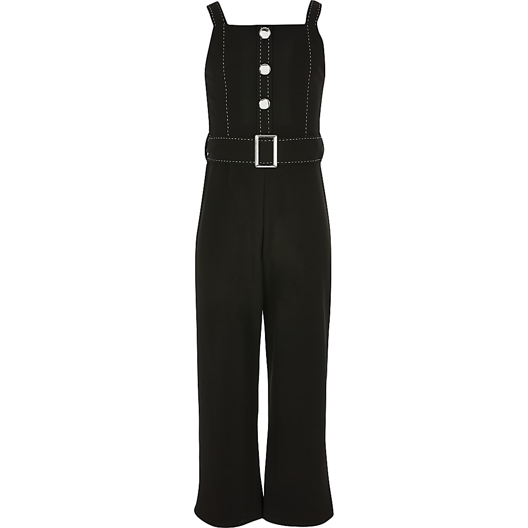 Girls black belted jumpsuit
