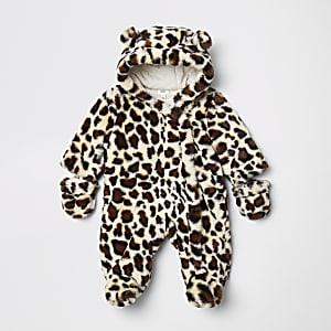Brauner Schneeanzug aus Kunstfell mit Leoprint für Babys