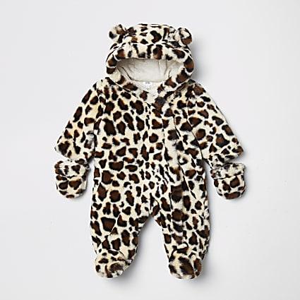 Baby brown leopard print faux snowsuit