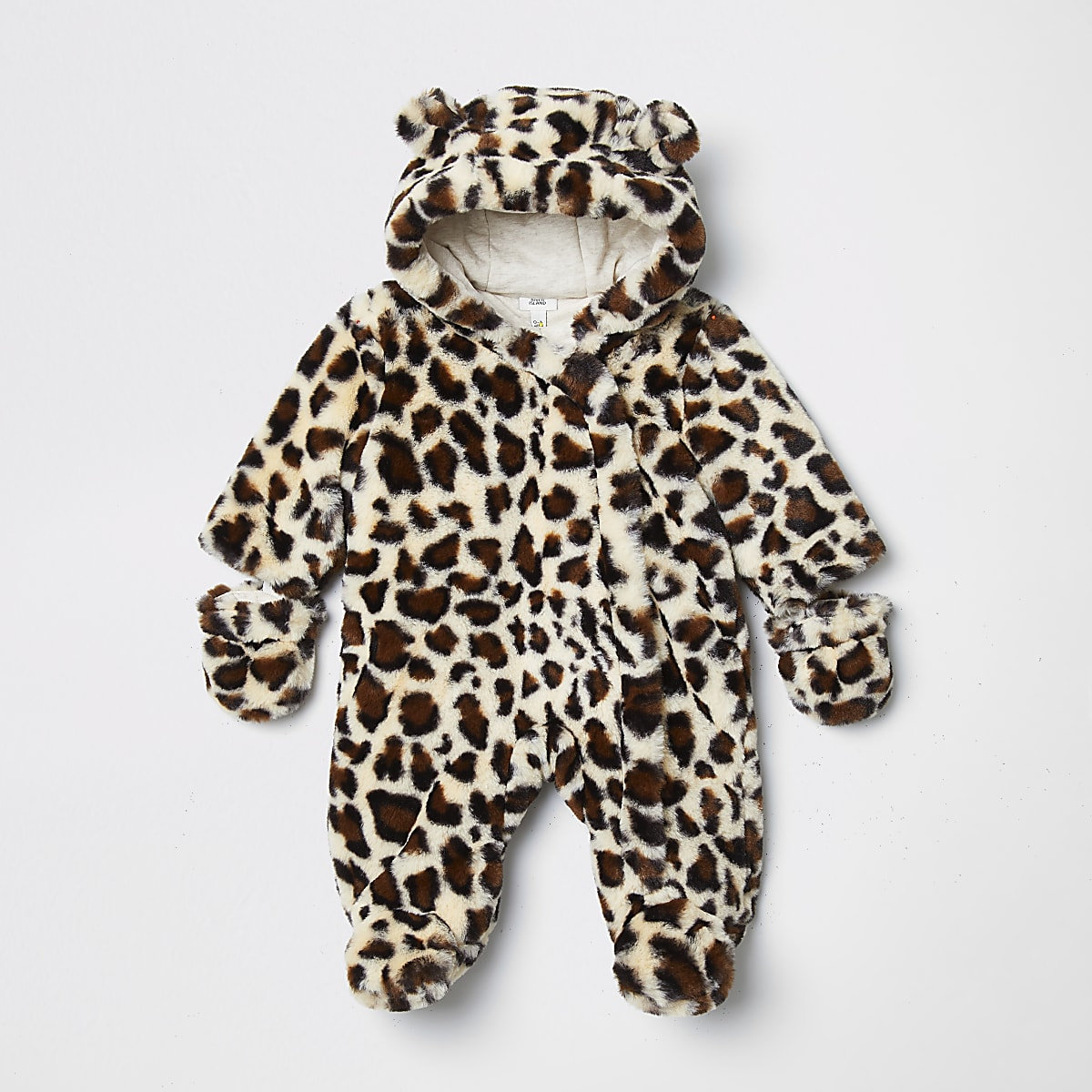 Baby brown leopard print faux snowsuit