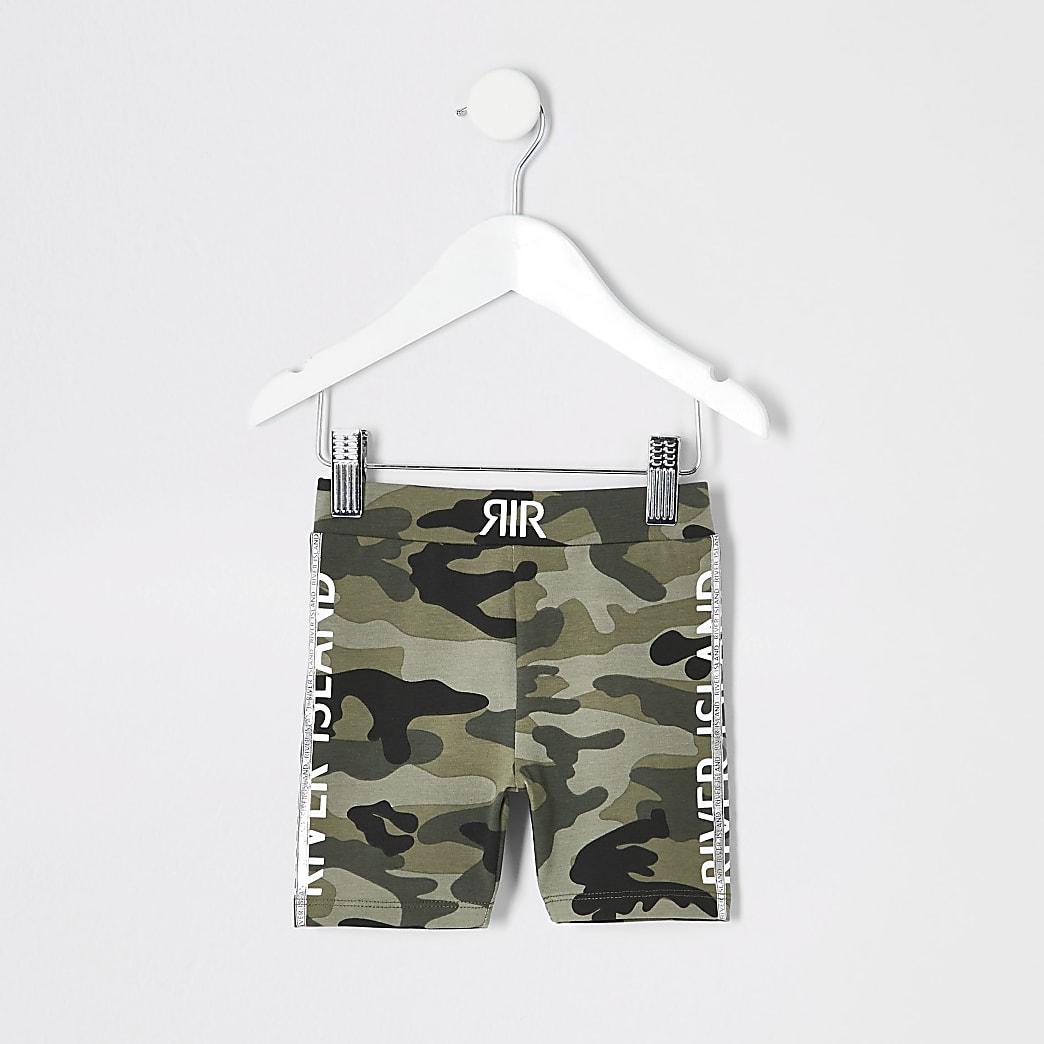 Mini girls green camo cycling shorts