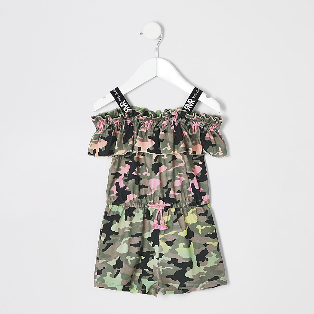 Mini girls multi neon camo playsuit