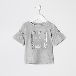 Mini girls grey zebra foil print T-shirt